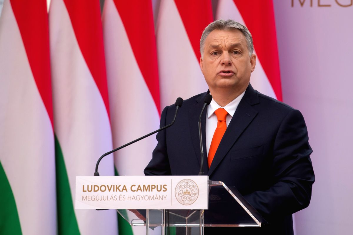 BUDAPEST, April 4, 2018 - Hungarian Prime Minister Viktor Orban delivers a speech at the inauguration ceremony of the Ludovika Campus of the National University of Public Service in Budapest, Hungary ...