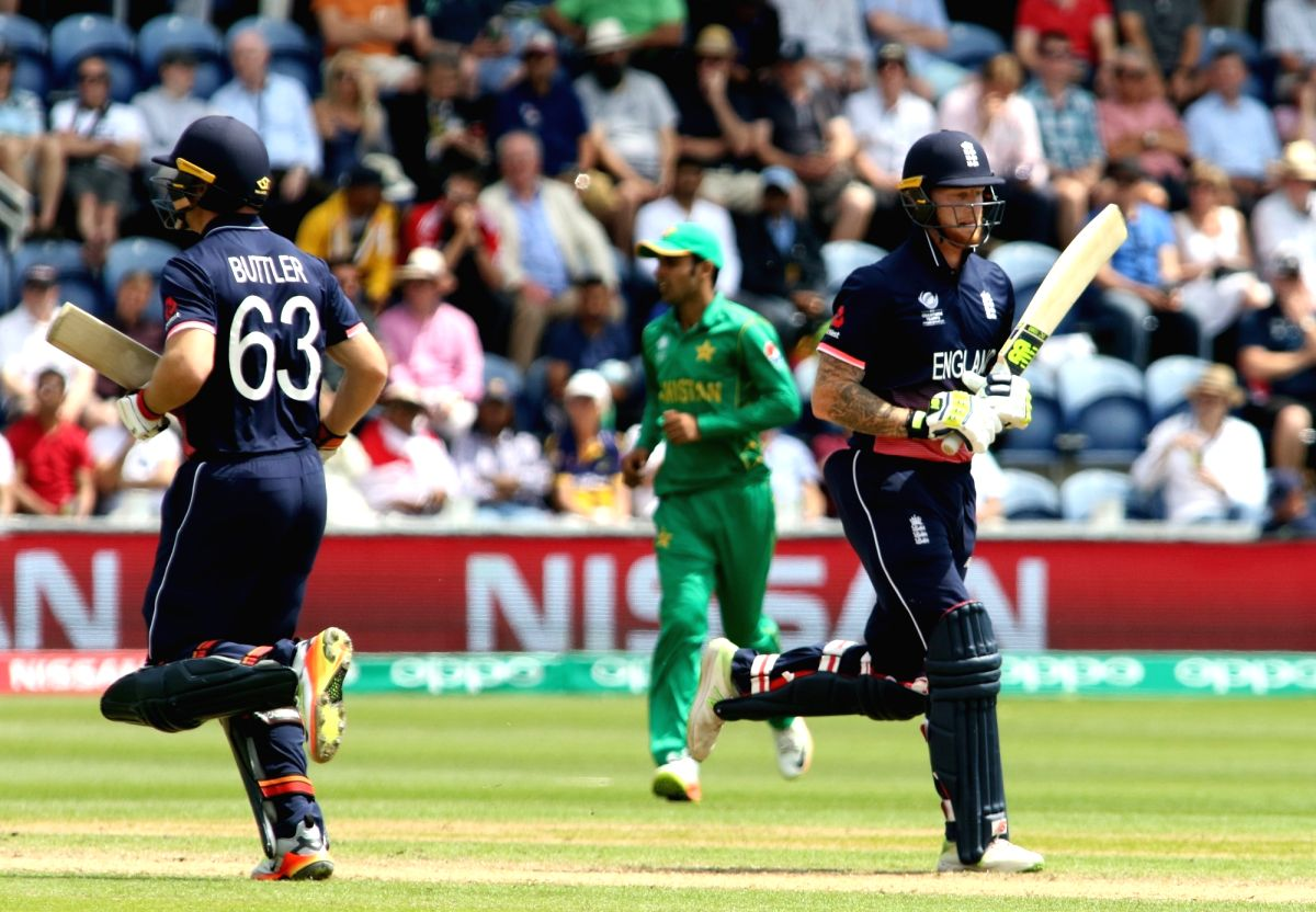 Cardiff: Ben stokes and Jos Buttler of England during the first Semi-final match of ICC Champions Trophy between England and Pakistan at Sophia Gardens in Cardiff, Wales, Britain on June 14, 2017. (Photo: Surjeet Yadav/IANS)
