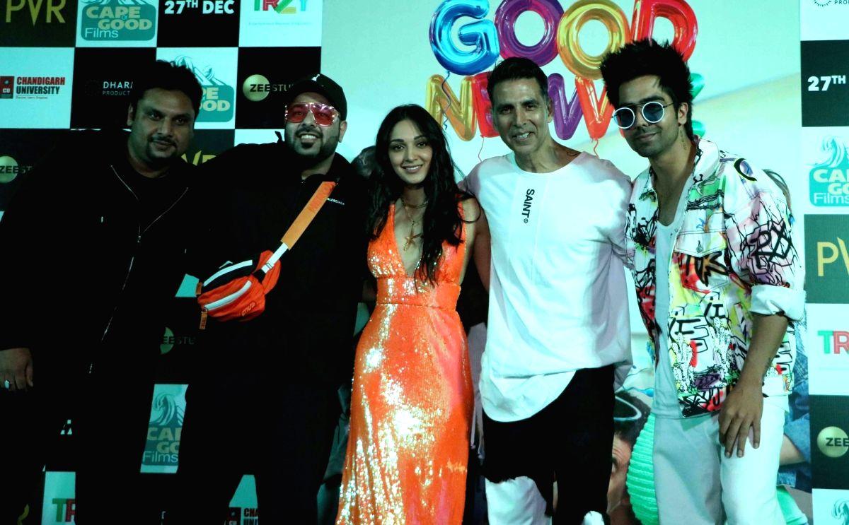 "Actors Akshay Kumar, Kiara Advani, singer Badshah and Hardy Sandhu during a press conference to promote their upcoming film ""Good Newwz"""