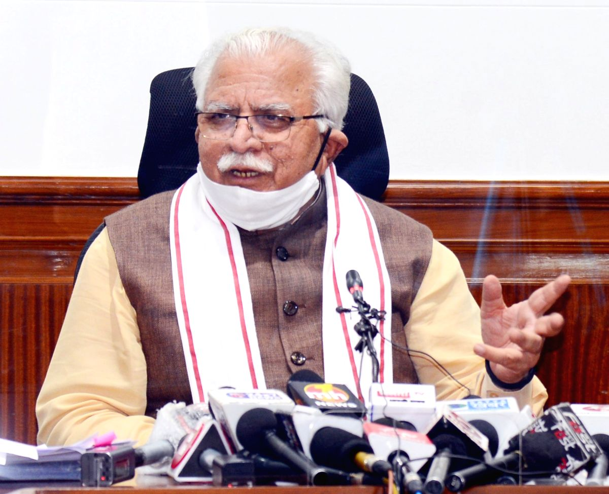Chandigarh: Haryana Chief Minister Manohar Lal Khattar addresses a press conference in Chandigarh on Oct 16, 2020.