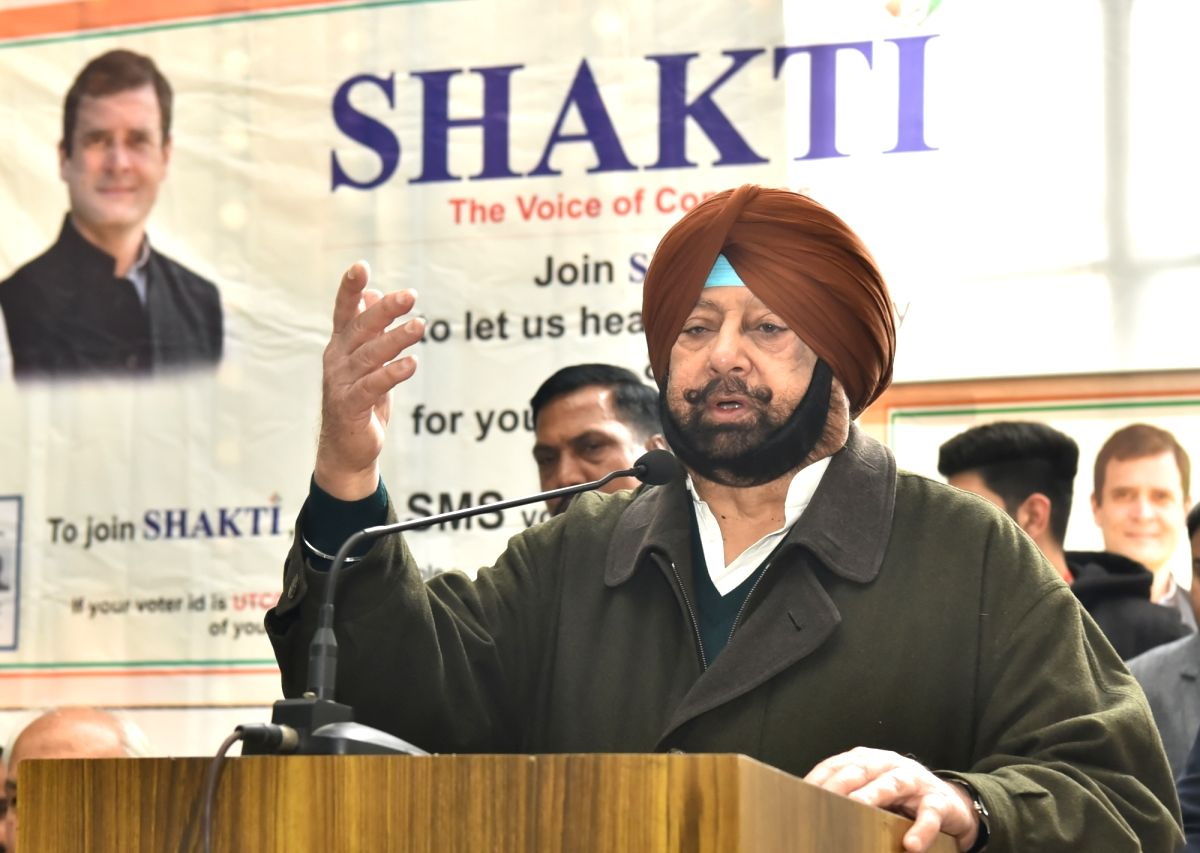 Chandigarh: Punjab Chief Minister and Congress leader Amarinder Singh addresses at the launch of the party's 'Jan Sampark Abhiyan' in Chandigarh, on Jan 25, 2019.