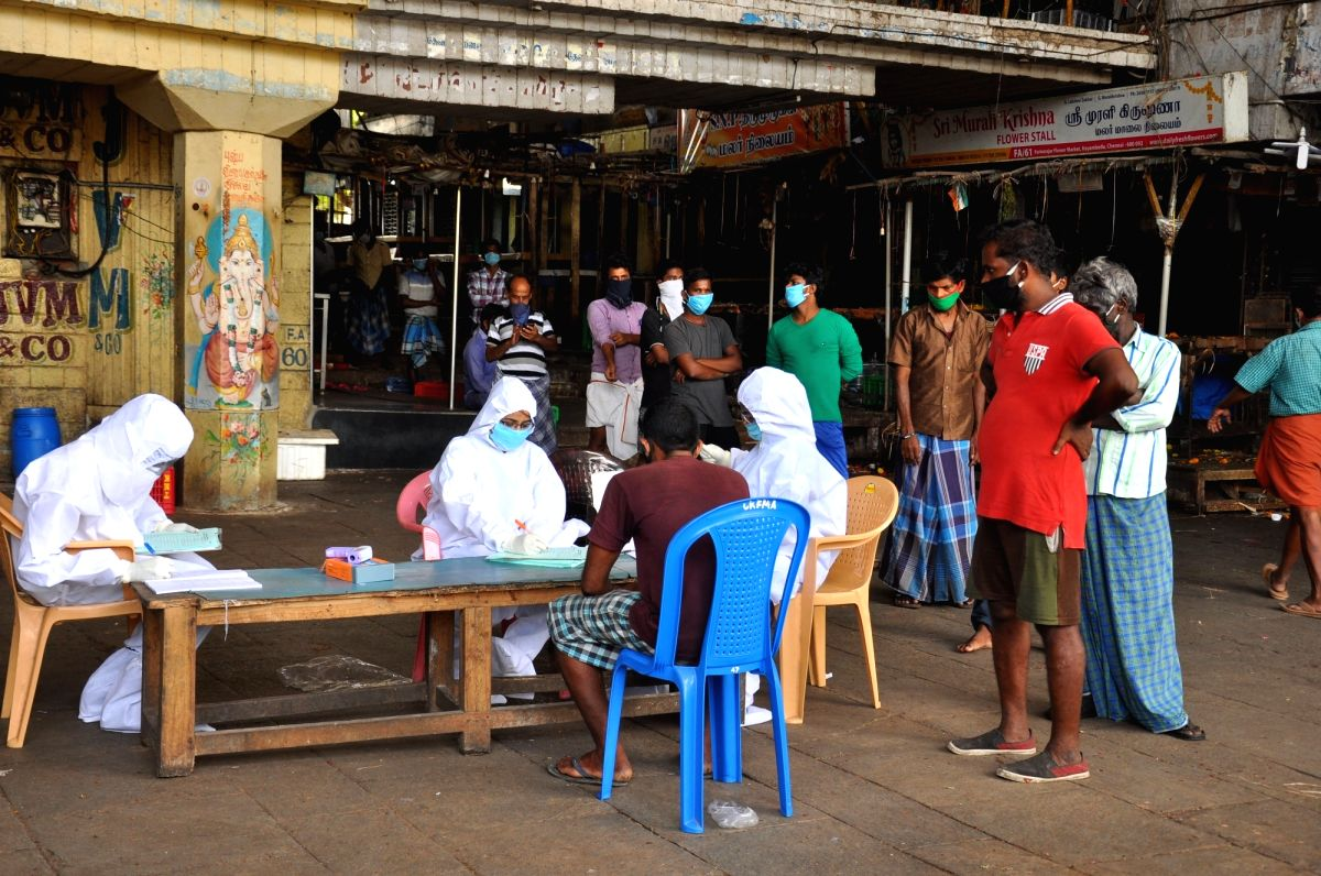 Chennai: A group of health workers collect samples at Chennai's Koyambedu market during the extended nationwide lockdown imposed to mitigate the spread of coronavirus. Reportedly, 2,760 cases have been linked to the market. Also according to the sour