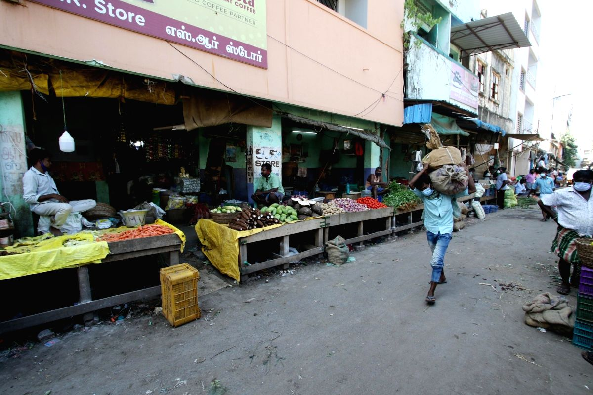 Chennai: Chennai markets have seen empty look as the lockdown has been opened for the retailers from in chennai on Monday, 07 June, 2021.(Photo: R. Parthibhan/IANS)