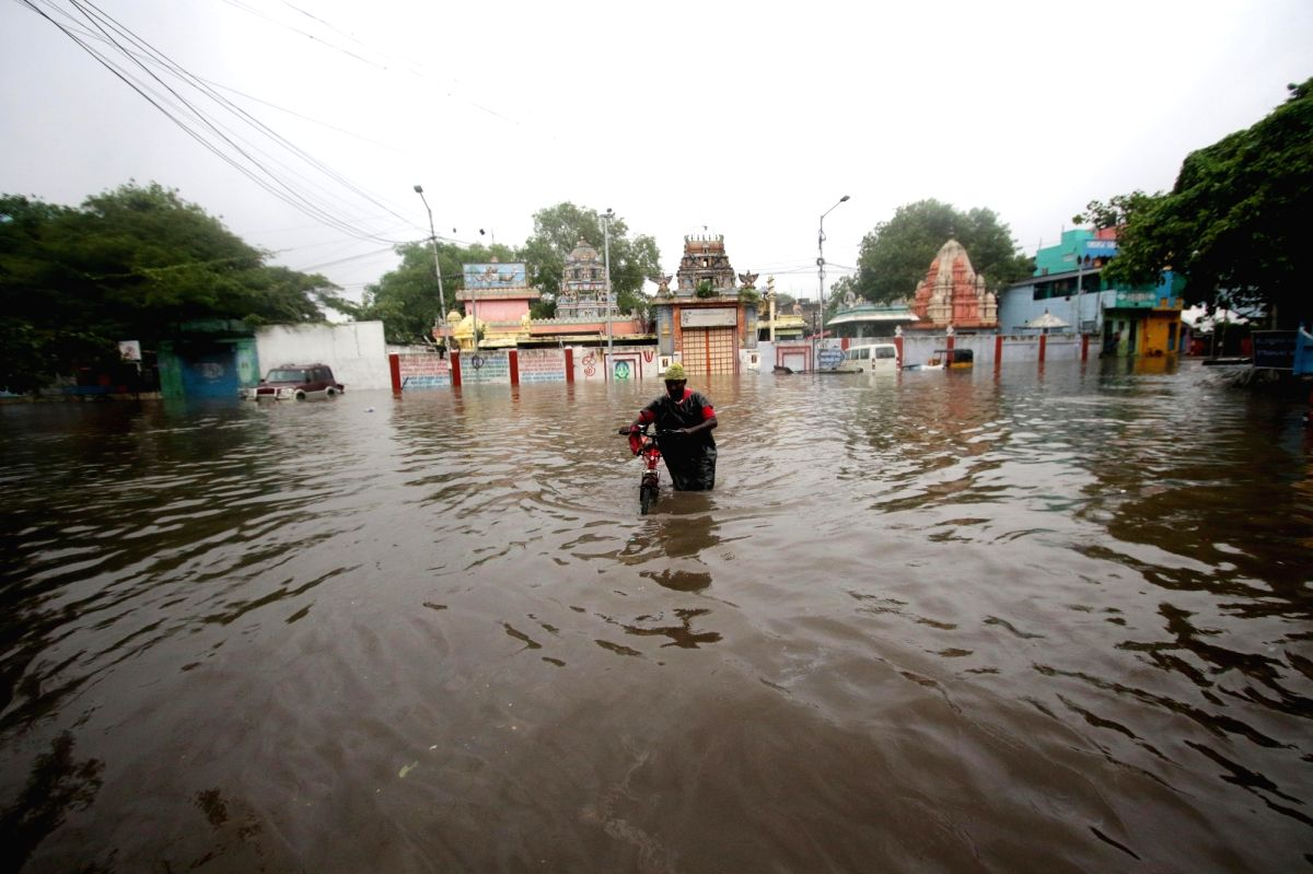 Chennai: Chennai witnesses heavy rains triggering flood-like situation due to the effect of cyclonic storm Nivar, on Nov 25, 2020.