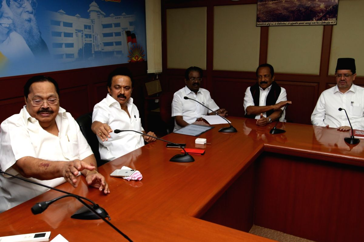 Chennai: DMK leader MK Stalin, MDMK leader Vaiko and other leaders during a meeting of opposition parties at the DMK headquarters in Chennai on Feb 6, 2018. Continuing their objection to the bus fare hike in Tamil Nadu, the Opposition parties have de
