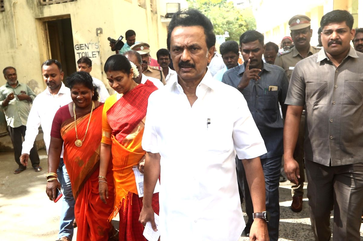 Chennai: DMK President and Leader of Opposition M.K. Stalin arrives to cast his vote for the second phase of 2019 Lok Sabha elections in Chennai, on April 18, 2019.