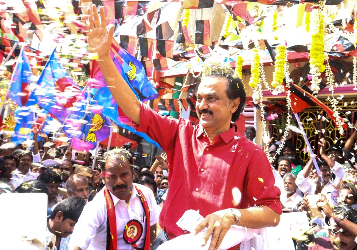 Chennai: DMK Working President M.K.Stalin campaigns ahead of December 21 by-election for the Radhakrishnan Nagar assembly constituency in Chennai on Dec 19, 2017.