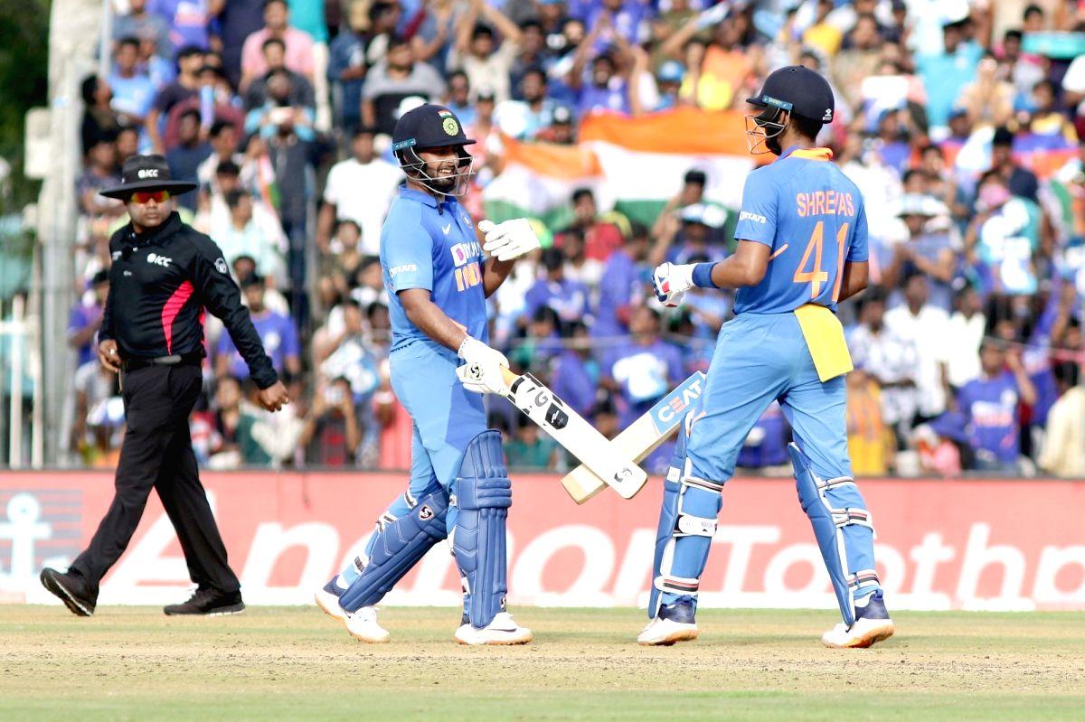 Chennai: India's Shreyas Iyer and Rishabh Pant during the 1st ODI match between India and West Indies at MA Chidambaram Stadium in Chennai on Dec 15, 2019.