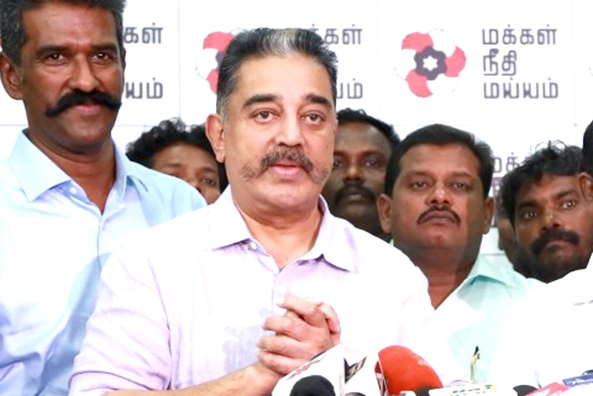 Chennai: Makkal Needhi Maiam (MNM) party chief Kamal Haasan and Republican Party of India (RPI) state President Thamizharasan during a press conference where MNM's electoral alliance with RPI was announced ahead of 2019 Lok Sabha elections in Chennai