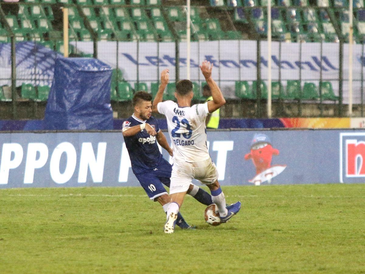 Chennai: Players in action during Indian Super League (ISL) match Chenniyain FC and Odisha FC at Jawaharlal Nehru Stadium in Chennai on Nov 28, 2019.