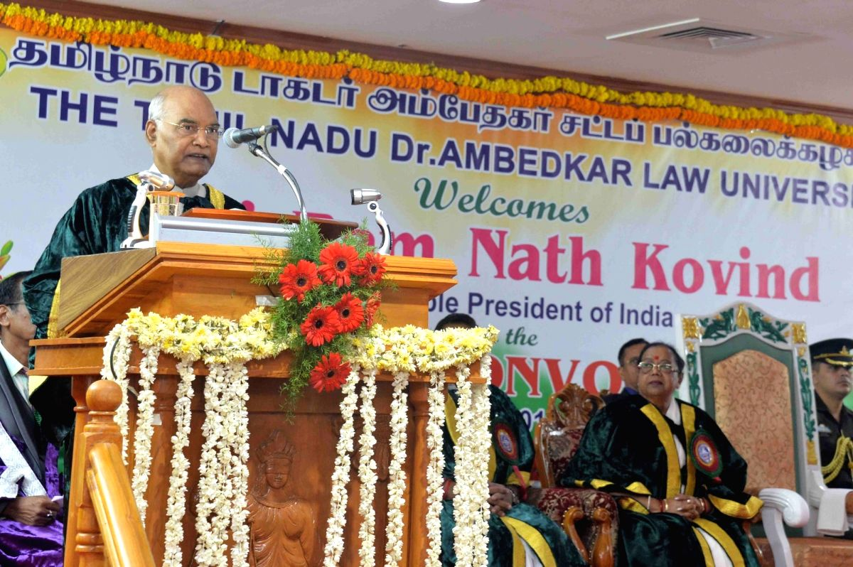 Chennai: President Ram Nath Kovind addresses during a special convocation ceremony organised at Tamil Nadu Dr. Ambedkar Law University, in Chennai on July 13, 2019. (Photo: IANS/RB)