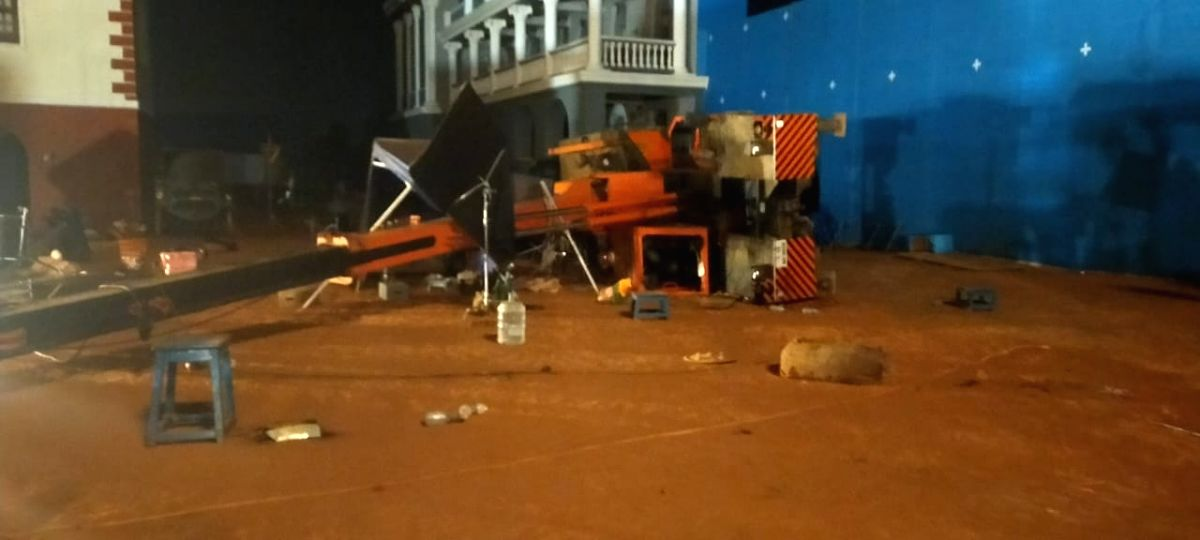 """Chennai: Three persons of """"Indian 2"""" movie film unit died in an accident when a crane fell on them while constructing the sets for the shooting on Wednesday, in Chennai on Feb 20, 2020."""