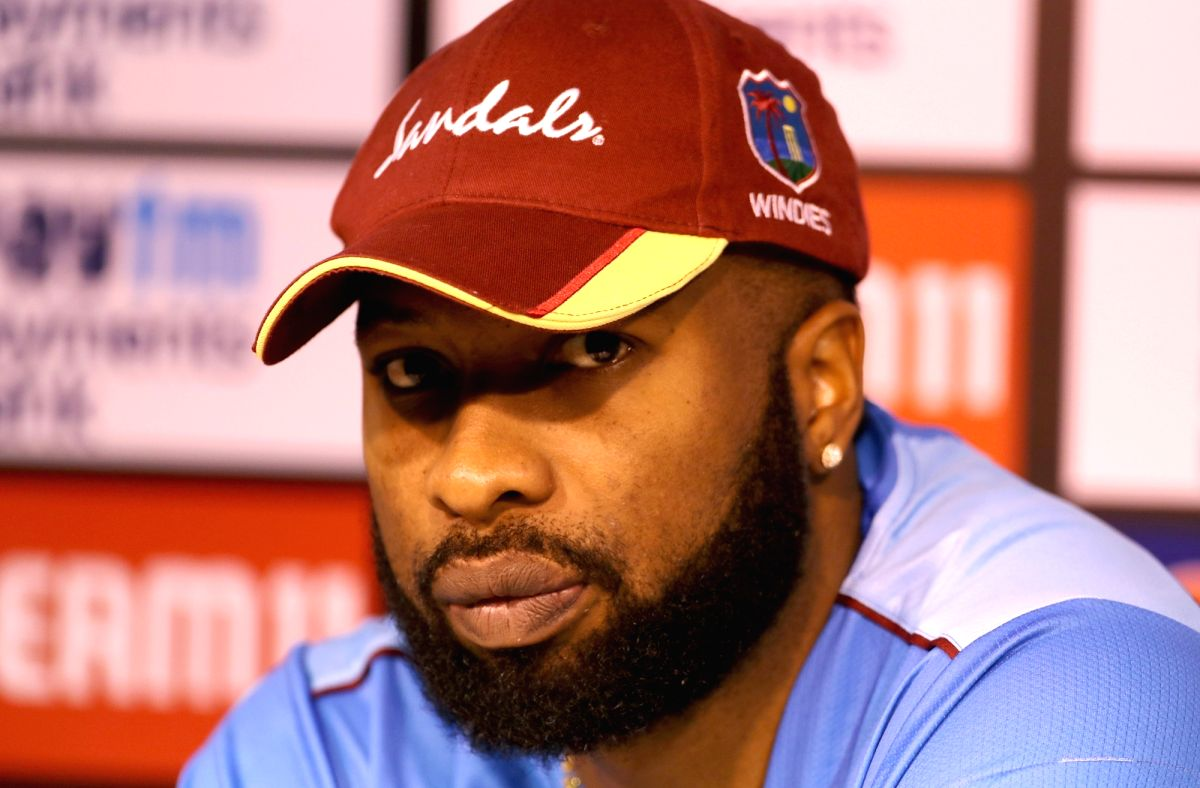 Chennai: West Indies captain Kieron Pollard addresses a pres conference on the eve of the 1st one-day international (ODI) match against India, at MA Chidambaram Stadium in Chennai on Dec 13, 2019. (Photo: Surjeet Yadav/IANS)