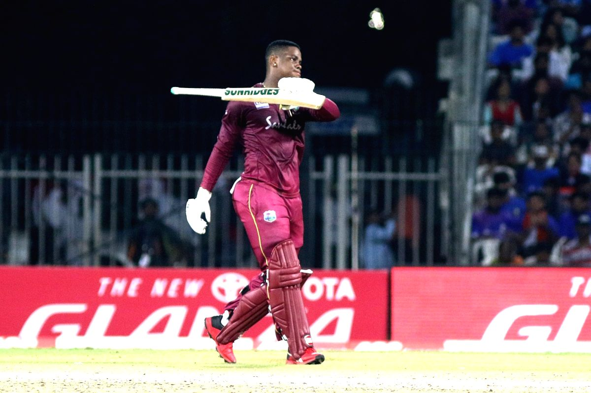 Chennai: West Indies' Shimron Hetmyer celebrates his century during the 1st ODI match between India and West Indies at MA Chidambaram Stadium in Chennai on Dec 15, 2019.
