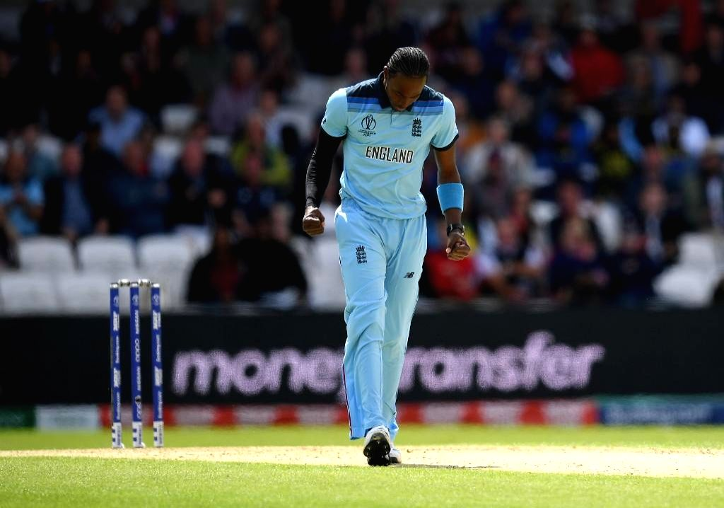 Chester-le-Street: England's Jofra Archer celebrates fall of a wicket during the 41st match of 2019 World Cup between New Zealand and England at Riverside Ground in Chester-le-Street, England on July 3, 2019. (Photo Credit: Twitter/@cricketworldcup)