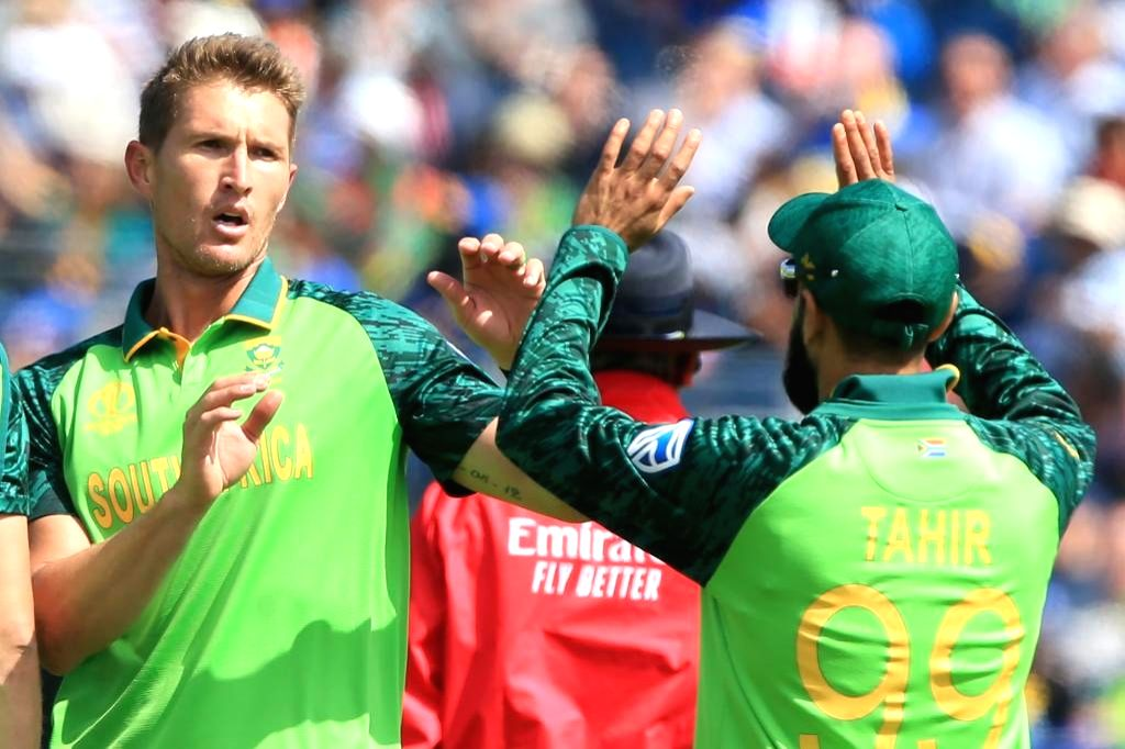 Chester-le-Street: South Africa's Dwaine Pretorius (L) celebrates fall of a wicket during the 35th match of 2019 World Cup between South Africa and Sri Lanka at Riverside Ground in Chester-le-Street, England on June 28, 2019. (Photo Credit: Twitter/@