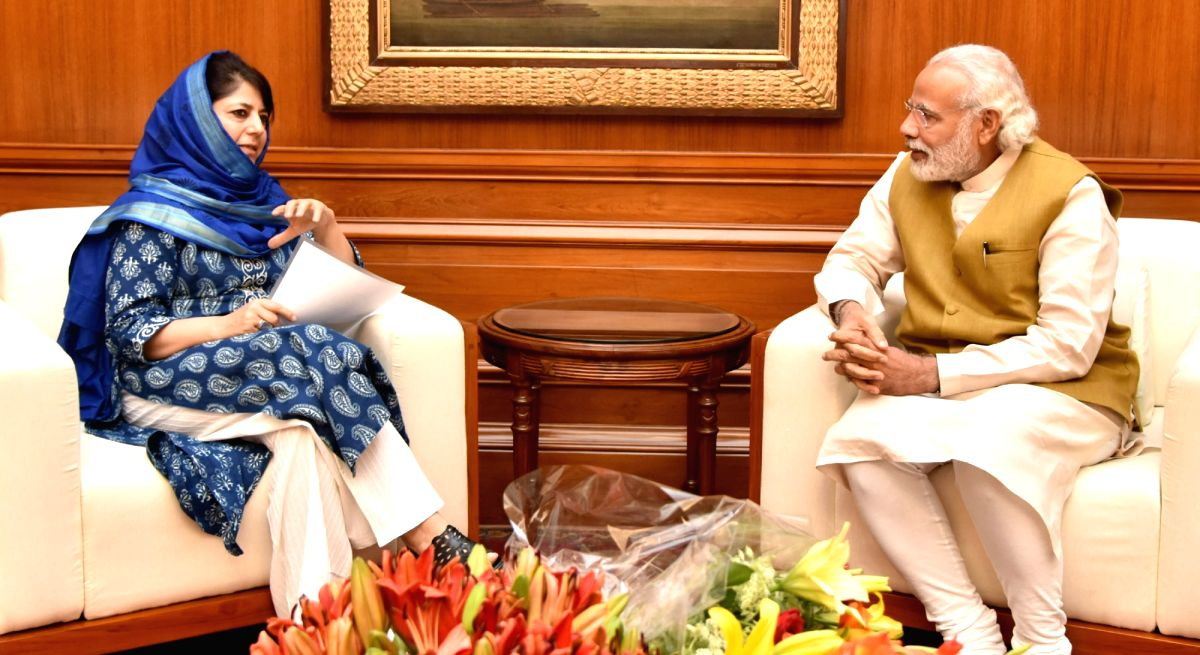 Chief Minister of Jammu and Kashmir Mehbooba Mufti calls on Prime Minister Narendra Modi in New Delhi on April 13, 2016.