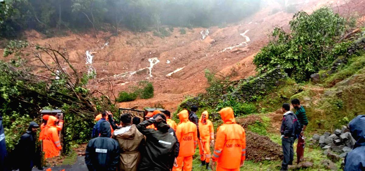 Chikmagalur: Landslides triggered by heavy rains hit Sringeri-Jayapura Road in Karnataka's Chikmagalur district on Aug 7, 2020.