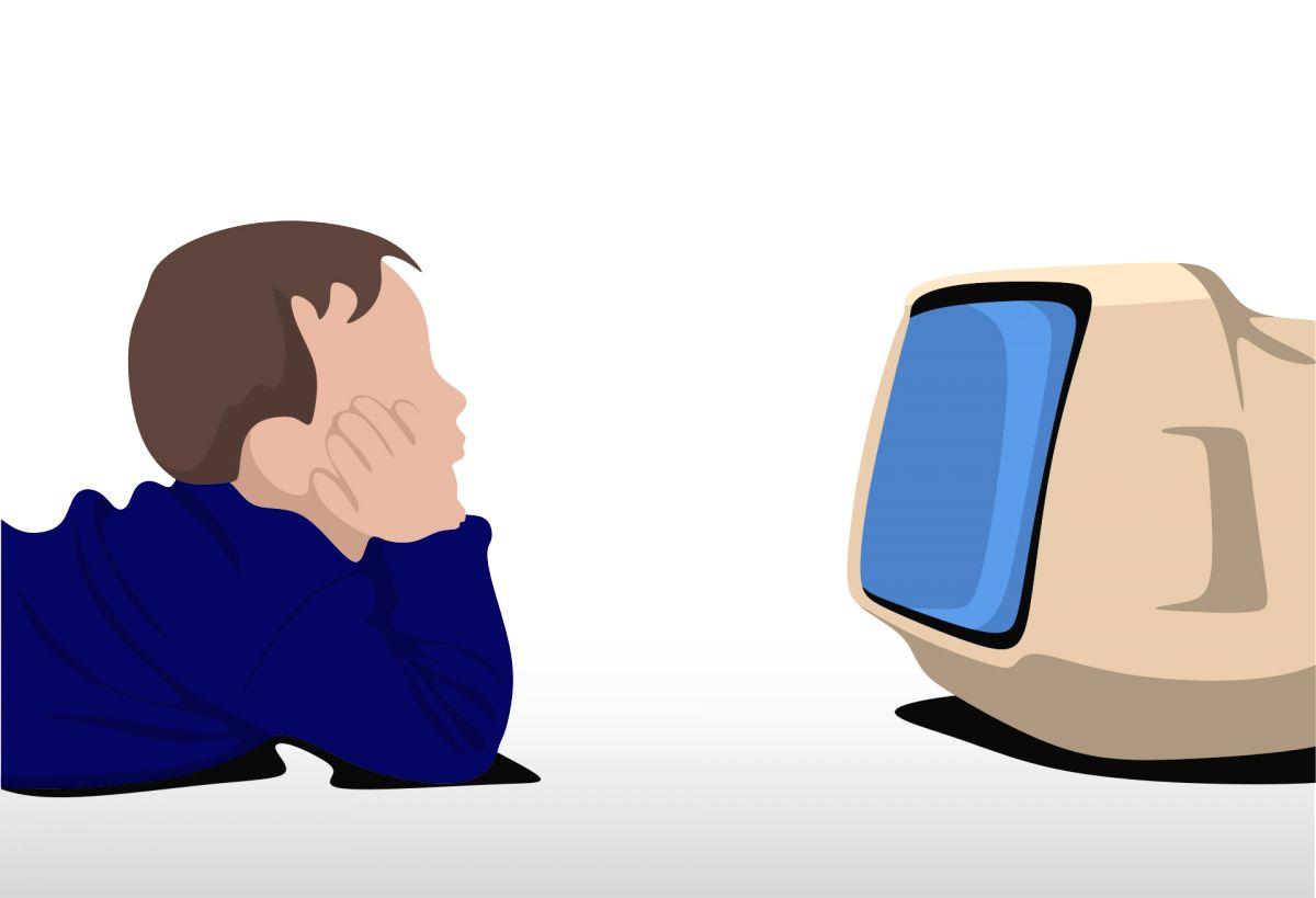 Children watching Television.