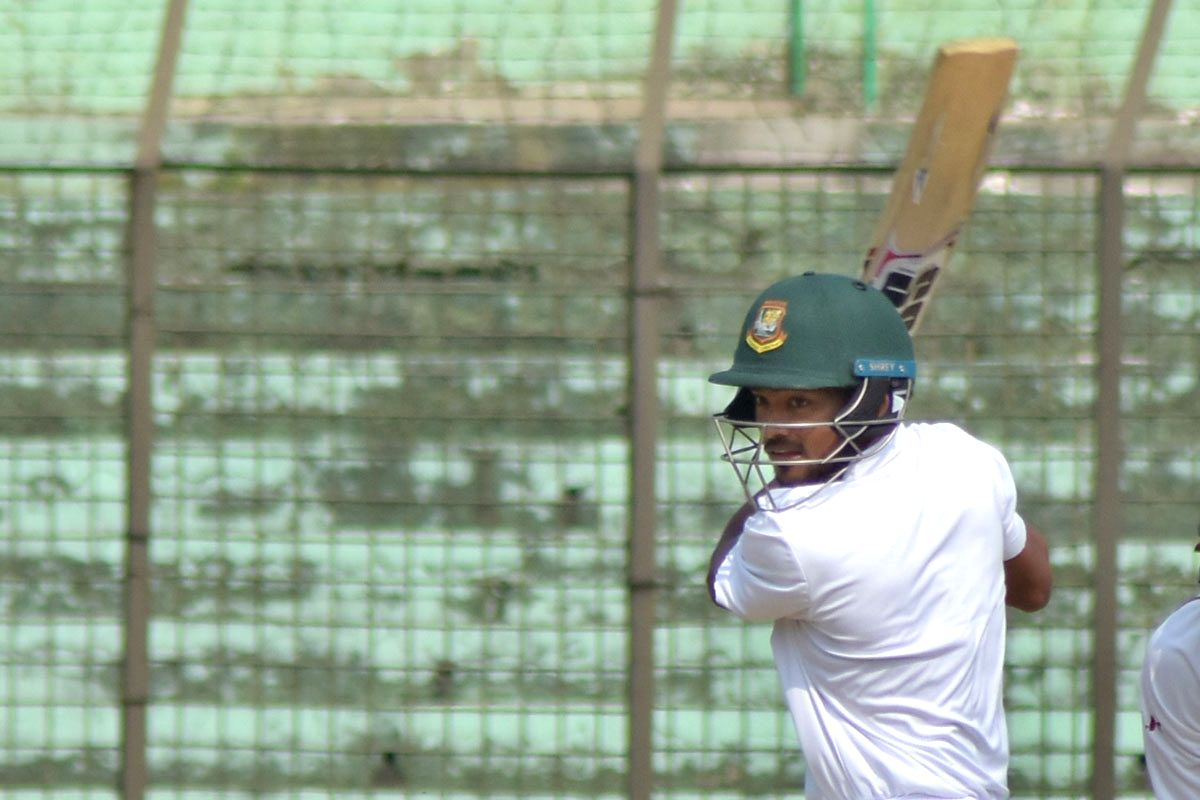 Chittagong: Bangladesh's Najmul Hossain Shanto in action during a 2-day match between West Indians and Bangladesh Cricket Board XI at MA Aziz Stadium in Chittagong, Bangladesh on Nov 19, 2018. (Photo: bdnews24/IANS)