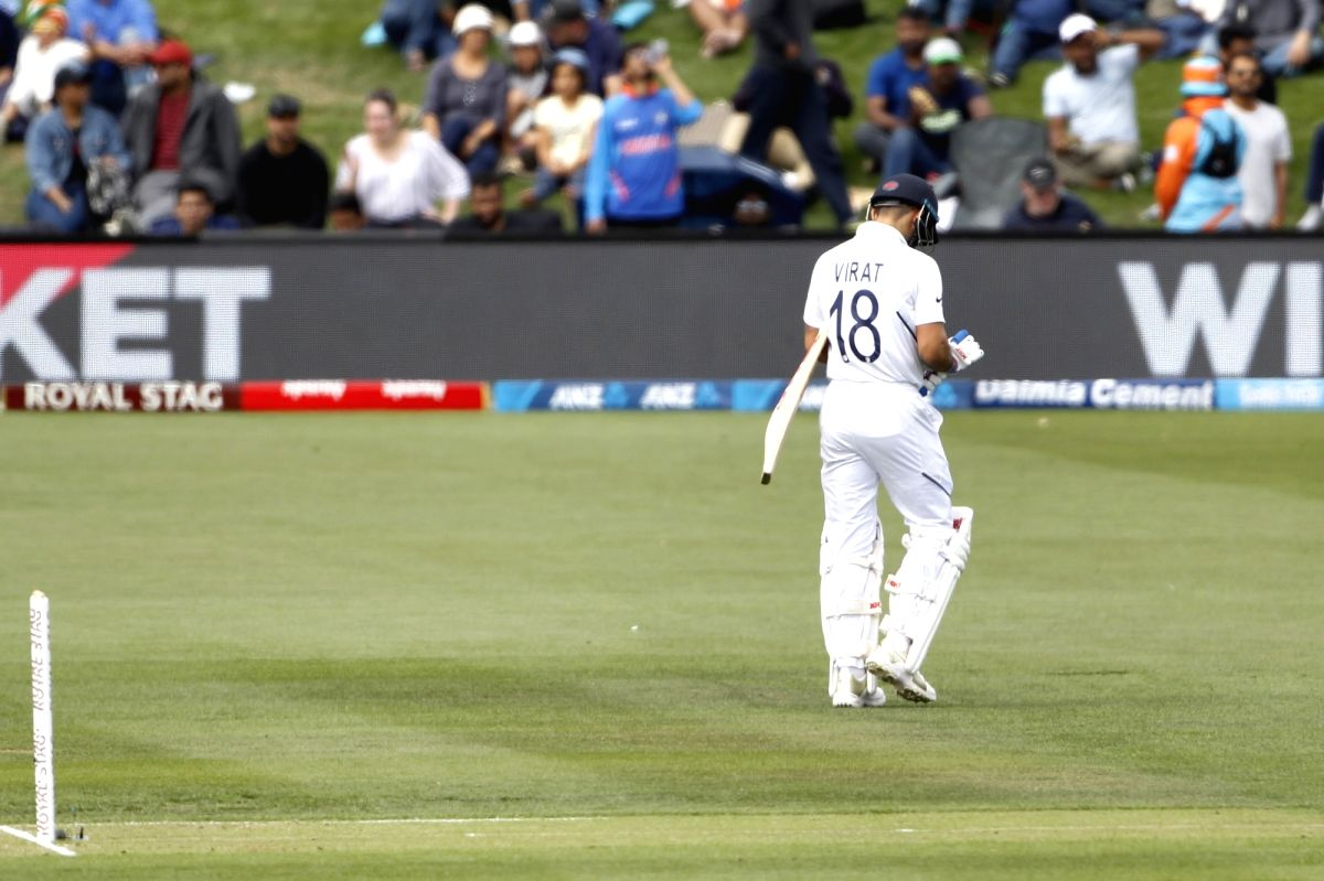 Christchurch: Indian skipper Virat Kohli walks back to the pavilion after getting dismissed on Day 1 of the 2nd Test match between India and New Zealand at Hagley Oval in Christchurch, New Zealand on Feb 29, 2020. (Photo: Surjeet Yadav/IANS)