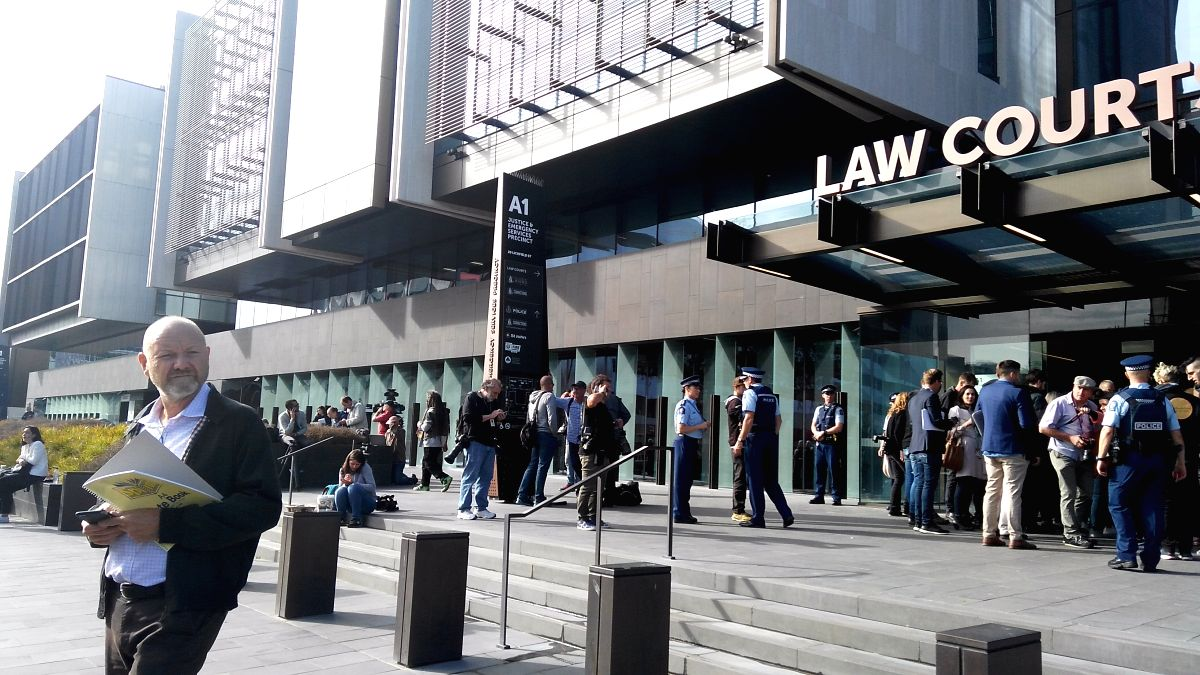 CHRISTCHURCH (NEW ZEALAND), March 16, 2019 (Xinhua) -- Media crews wait in front of a court in Christchurch, New Zealand, on March 16, 2019. A 28-year-old man was due to appear in a court in Christchurch on Saturday morning, in connection with the ma