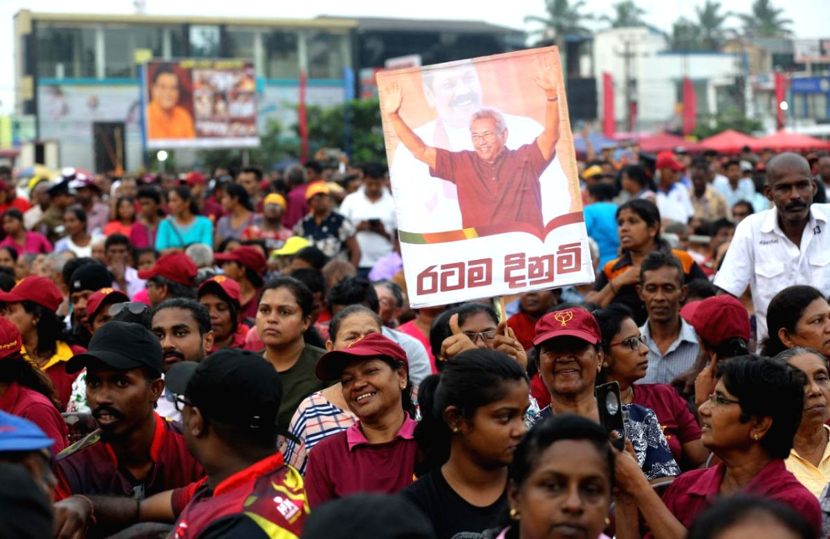 COLOMBO, Nov. 13, 2019 (Xinhua) -- Supporters of Gotabaya Rajapaksa, Sri Lanka's presidential candidate of the main opposition Sri Lanka Podujana Peramuna (SLPP), attend a final campaign rally in Homagama, outskirts of Colombo, Sri Lanka, on Nov. 13,