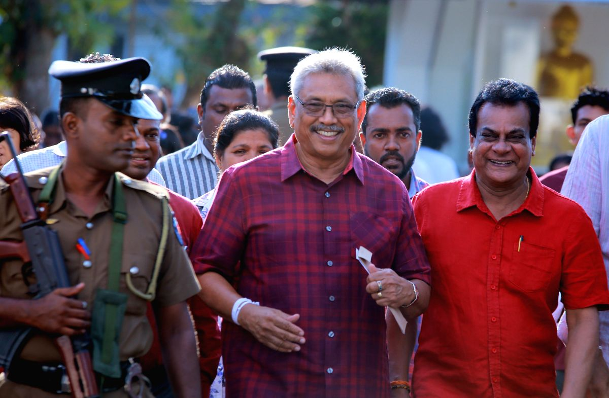 COLOMBO, Nov. 16, 2019 (Xinhua) -- Sri lankan Presidential Candidate Gotabaya Rajapaksa leaves a polling station after casting his vote in Colombo, Sri Lanka, Nov. 16, 2019. The voter turnout in Sri Lanka's presidential elections hit 70 percent by 2: