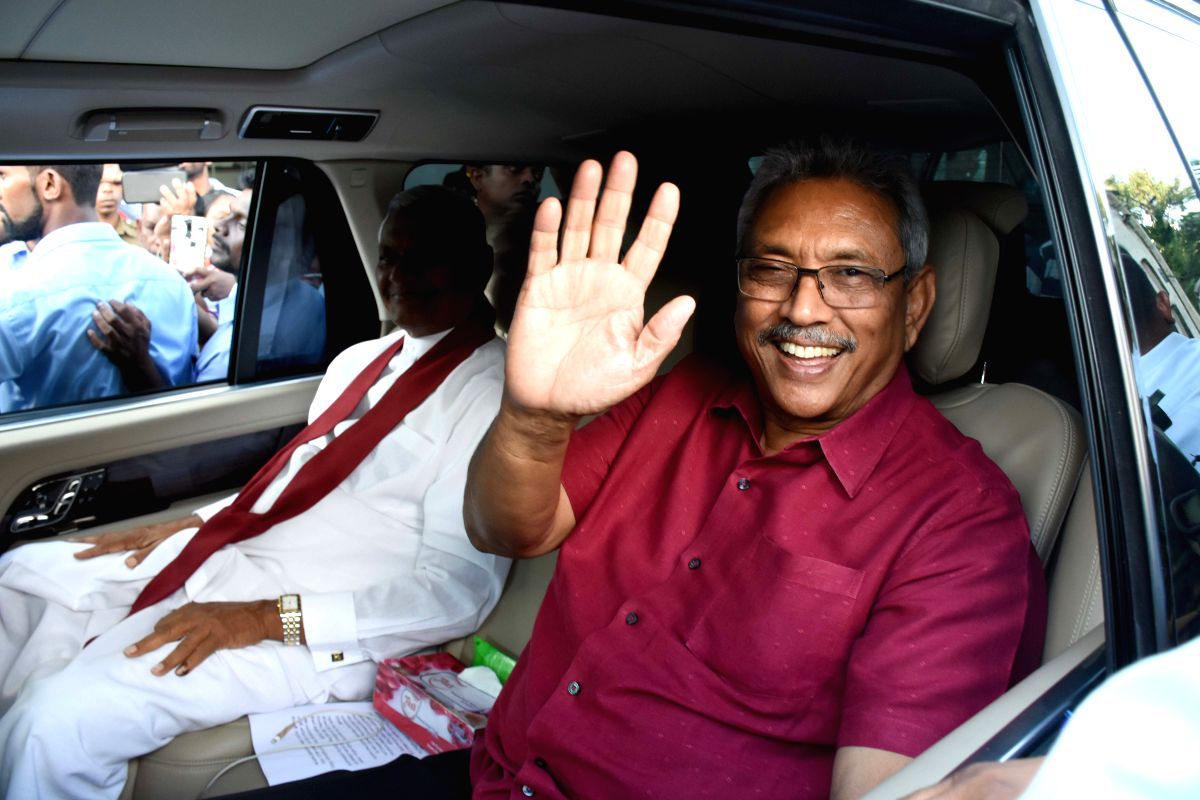 COLOMBO, Nov. 17, 2019 (Xinhua) -- Gotabaya Rajapaksa greets supporters in Colombo, Sri Lanka, Nov. 17, 2019. Sri Lanka's Elections Chief Mahinda Deshapriya on Sunday afternoon confirmed that opposition candidate Gotabaya Rajapaksa won the presidenti