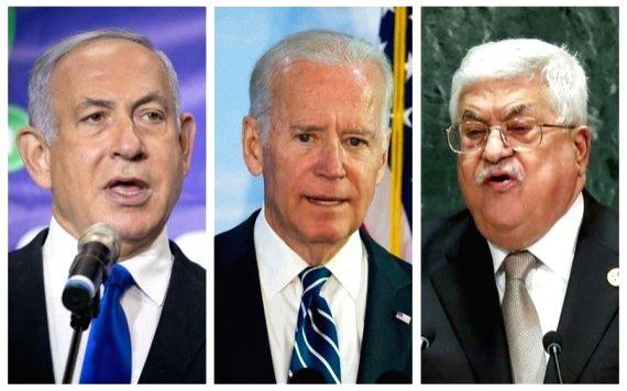 Combo photo of Israeli Prime Minister Benjamin Netanyahu (L), U.S. President Joe Biden, and Palestinian President Mahmoud Abbas (R). (Xinhua/IANS)