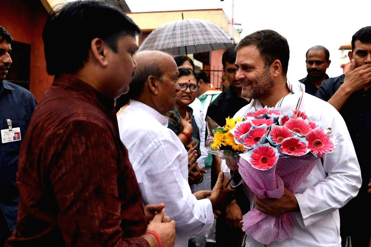 Congress leader Rahul Gandhi being received by party workers on his arrival at the Chaudhary Charan Singh International Airport in Lucknow on July 10, 2019.