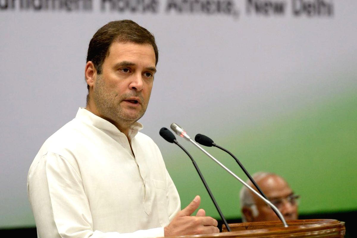 Congress President Rahul Gandhi addresses at the Congress Working Committee (CWC) meeting, in New Delhi, on July 22, 2018.