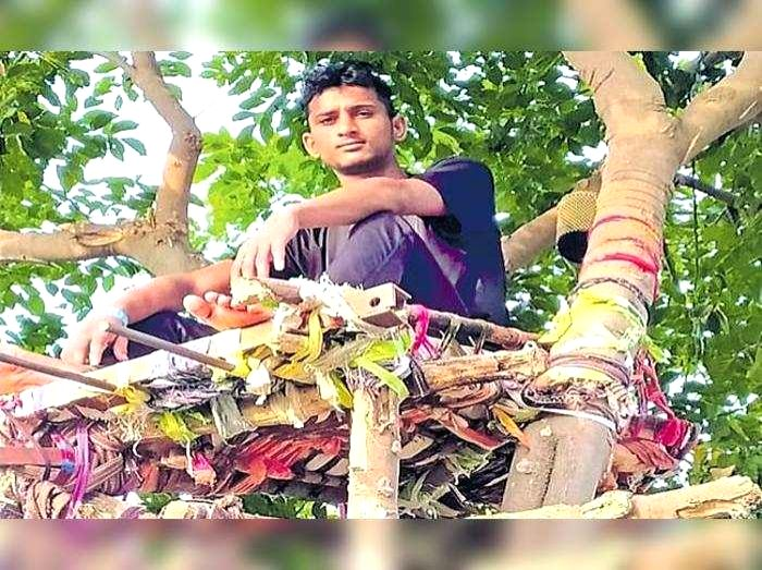 Covid+ve Telangana youth spends 11 days on tree