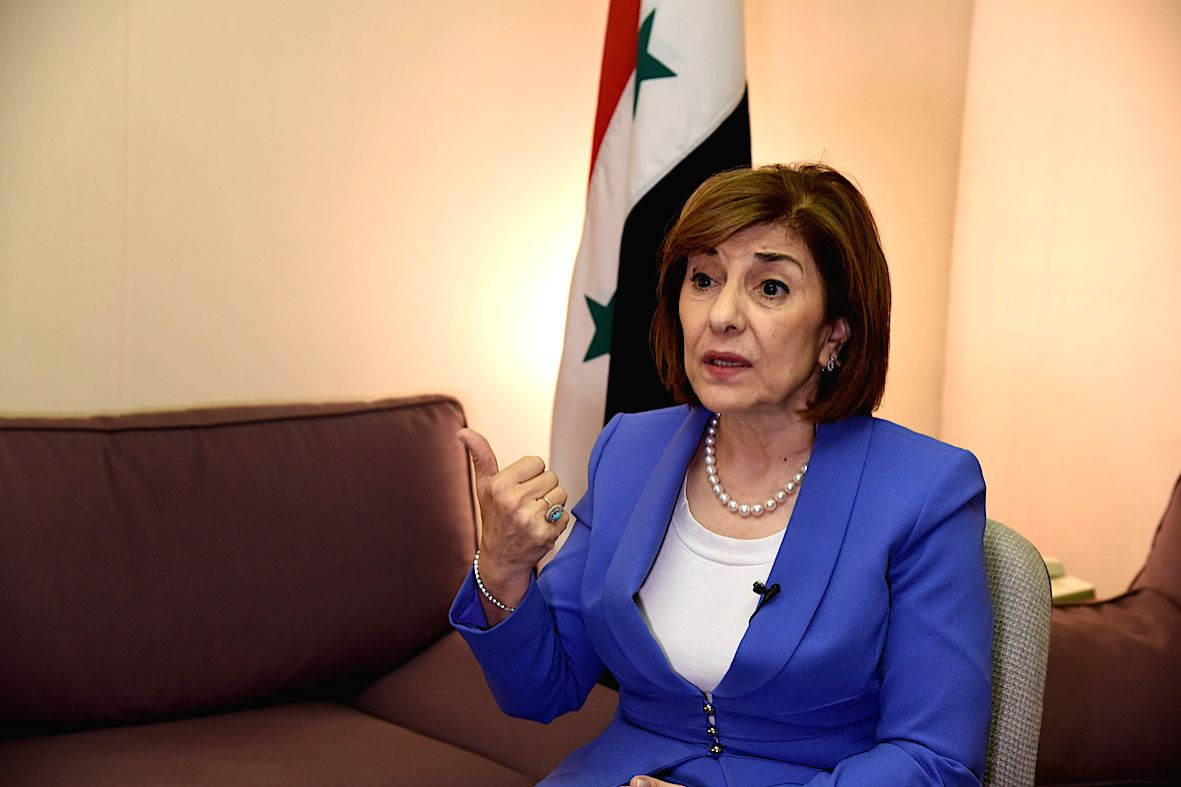DAMASCUS, Oct. 6, 2019 (Xinhua) -- Bouthaina Shaaban, Syria's political and media advisor to the presidency, speaks during an interview with Xinhua at Damascus, Syria, Oct. 1, 2019. China's huge achievements in development have reverberated on other