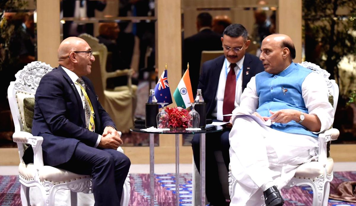 US Secretary of Defence Mark T Esper and India's Defence Minister Rajnath Singh