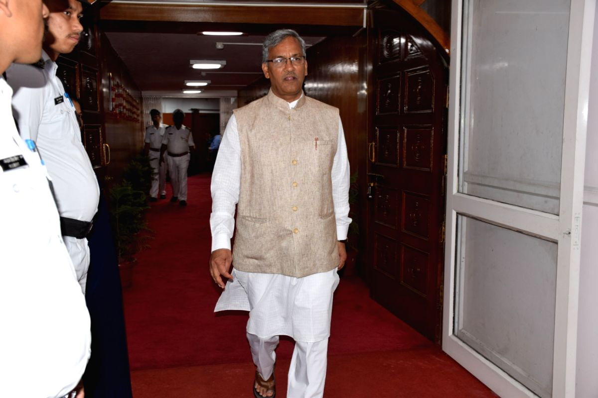 Dehradun: Uttarakhand Chief Minister Trivendra Singh Rawat arrives at the state assembly on the second day of the monsoon session, in Dehradun on June 25, 2019.