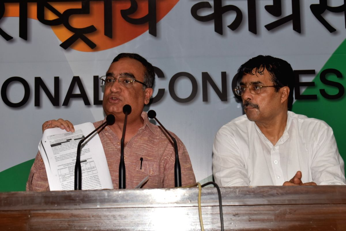 Delhi Congress chief Ajay Maken addressing  a press conference in New Delhi on Aug. 18, 2017.
