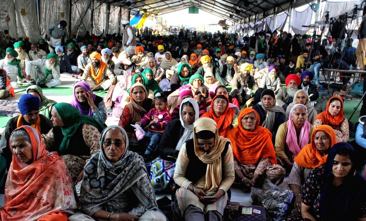 Delhi: Farmer's protest at Singhu Border on Wednesday, 27 January 2021 (CREDIT:IANS/Qamar sibtain)