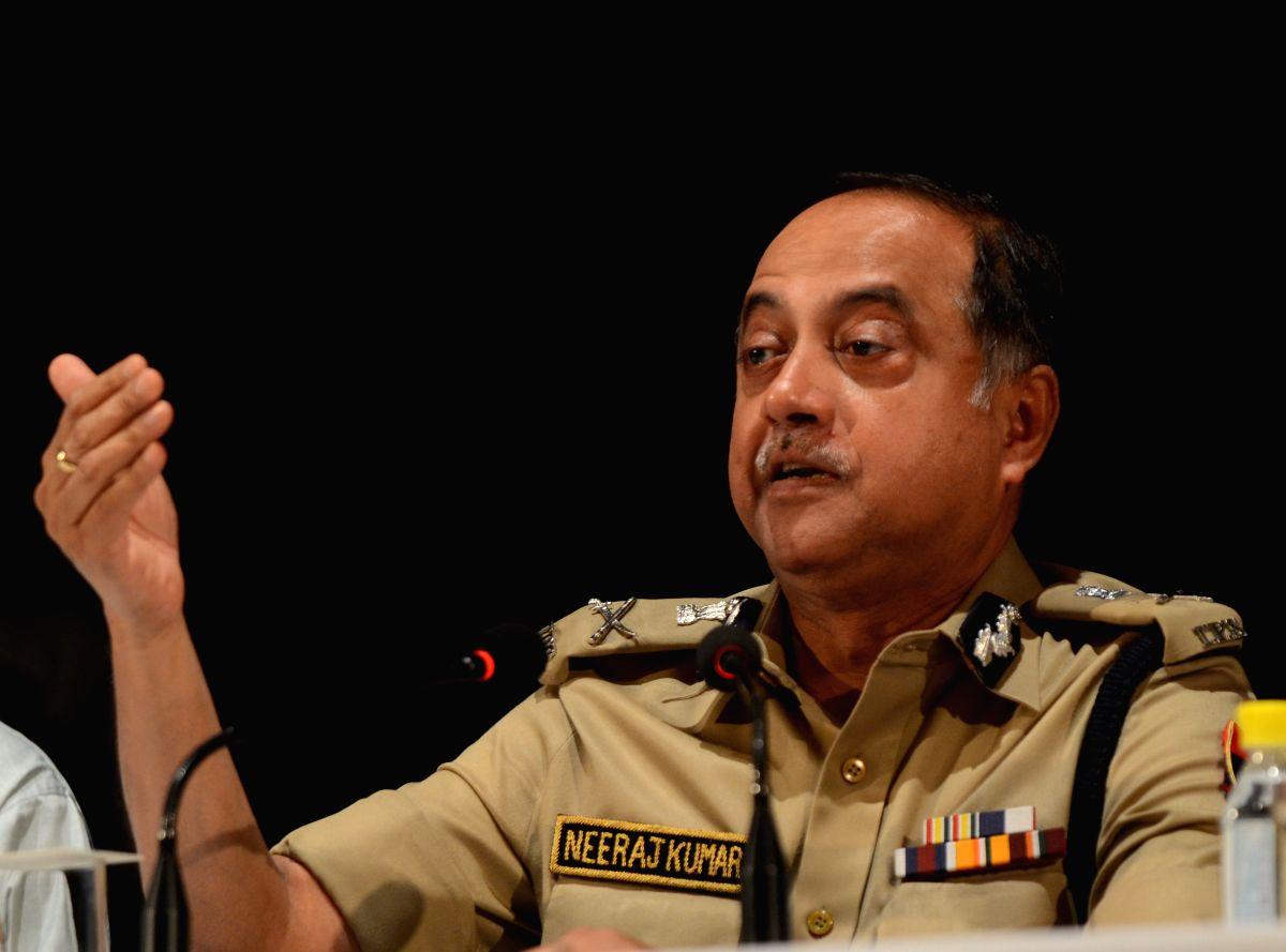 Delhi Police chief Neeraj Kumar talking to media regarding the sensational arrest of three cricketers in the IPL spot fixing case at IHC in New Delhi on May 16, 2013.