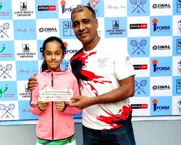 Delhi's Anahat Singh who along with her sister soared high with title wins in the finals of the Northern India Squash Championship held at Gymkhana Club, New Delhi on Wednesday. Dutch Junior Championships bronze medallist Amira Singh playing in the g