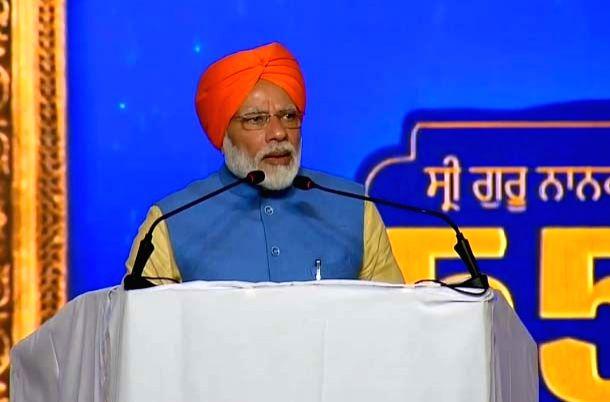 Dera Baba Nanak: Prime Minister Narendra Modi addresses during a programme in Punjab's Dera Baba Nanak, on Nov 9, 2019.