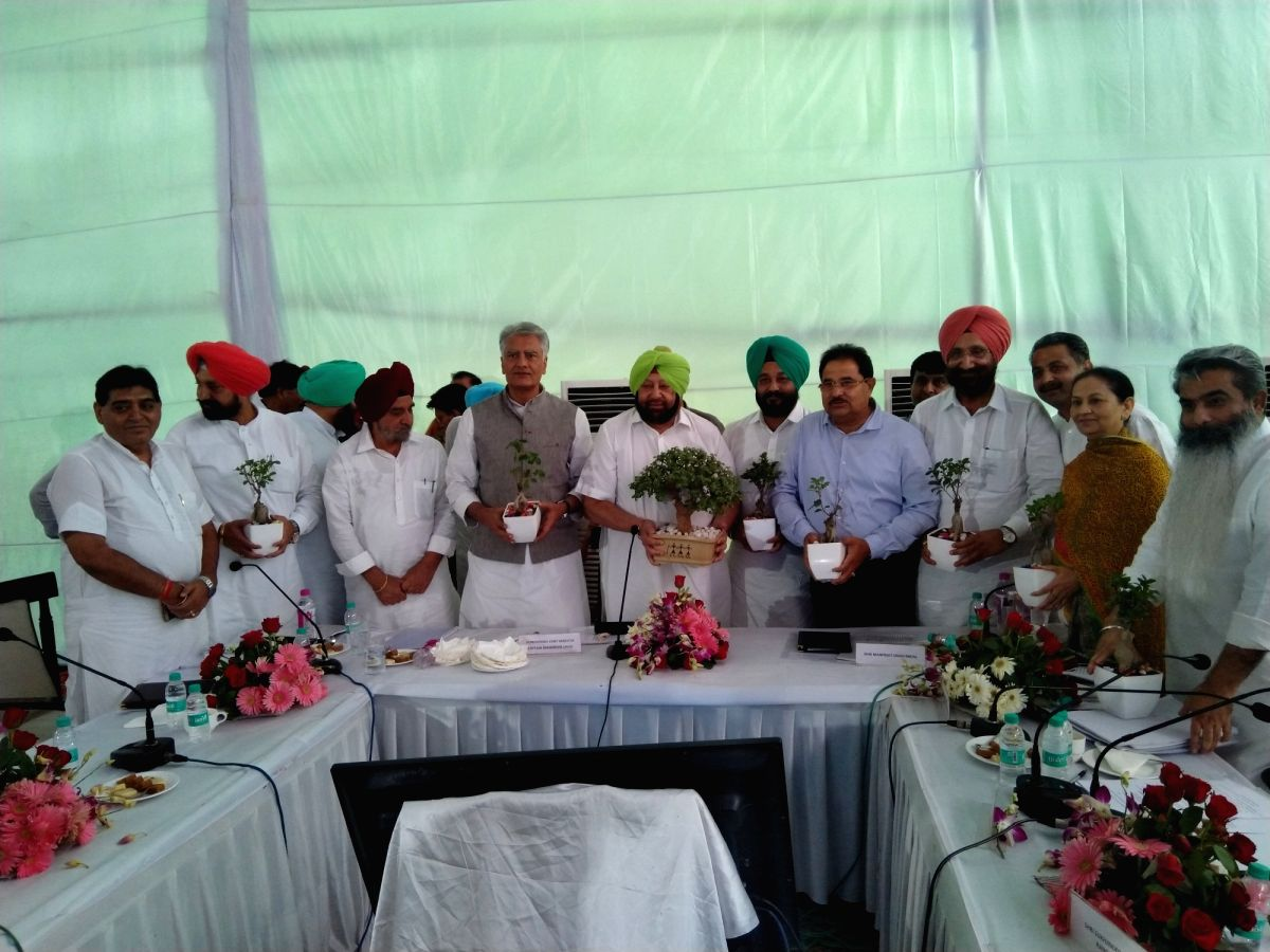 Dera Baba Nanak: Punjab Chief Minister Amarinder Singh at a meeting of the Dera Baba Nanak Development Authority during his visit to Punjab's Dera Baba Nanak to take stock of the ongoing construction work for the Kartarpur corridor ahead of the 550th