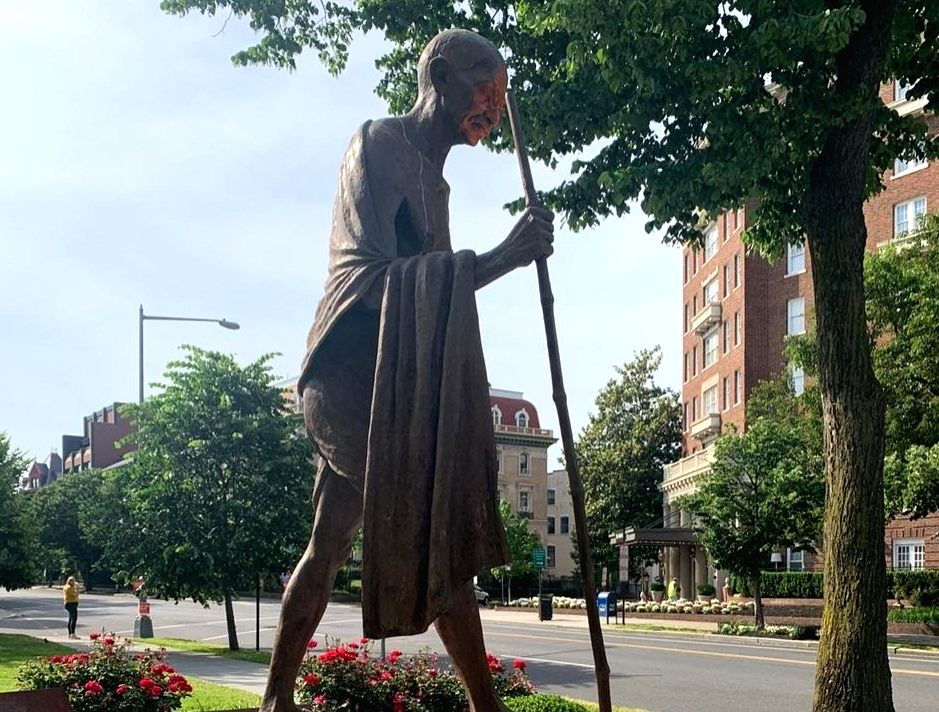 Desecrated Gandhi statue in Washington being cleaned.