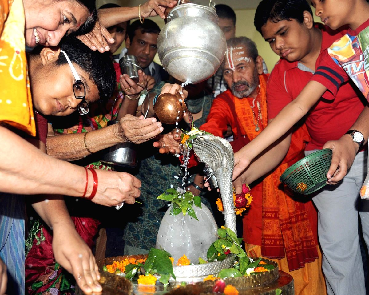 Milk poured on 'Shivling' by devotees