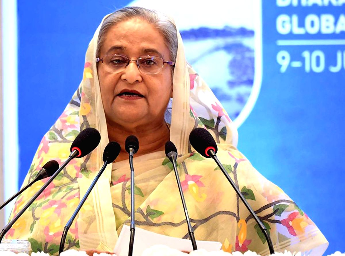DHAKA, July 10, 2019 (Xinhua) -- Bangladeshi Prime Minister Sheikh Hasina speaks at the Dhaka Meeting of the Global Commission on Adaptation (GCA) in Dhaka, Bangladesh, on July 10, 2019. Sheikh Hasina on Wednesday called upon all for further efforts