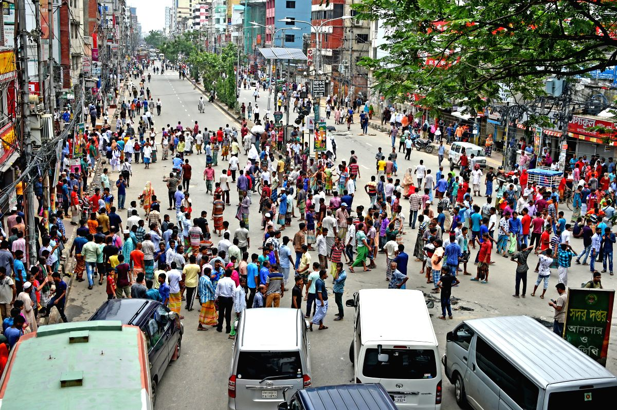 DHAKA, July 10, 2019 (Xinhua) -- Rickshaw-pullers attend a protest on the streets in Dhaka, Bangladesh, July 9, 2019. Traffic in parts of Bangladesh capital Dhaka was affected for hours as thousands of rickshaw-pullers had blockaded roads since Tuesd