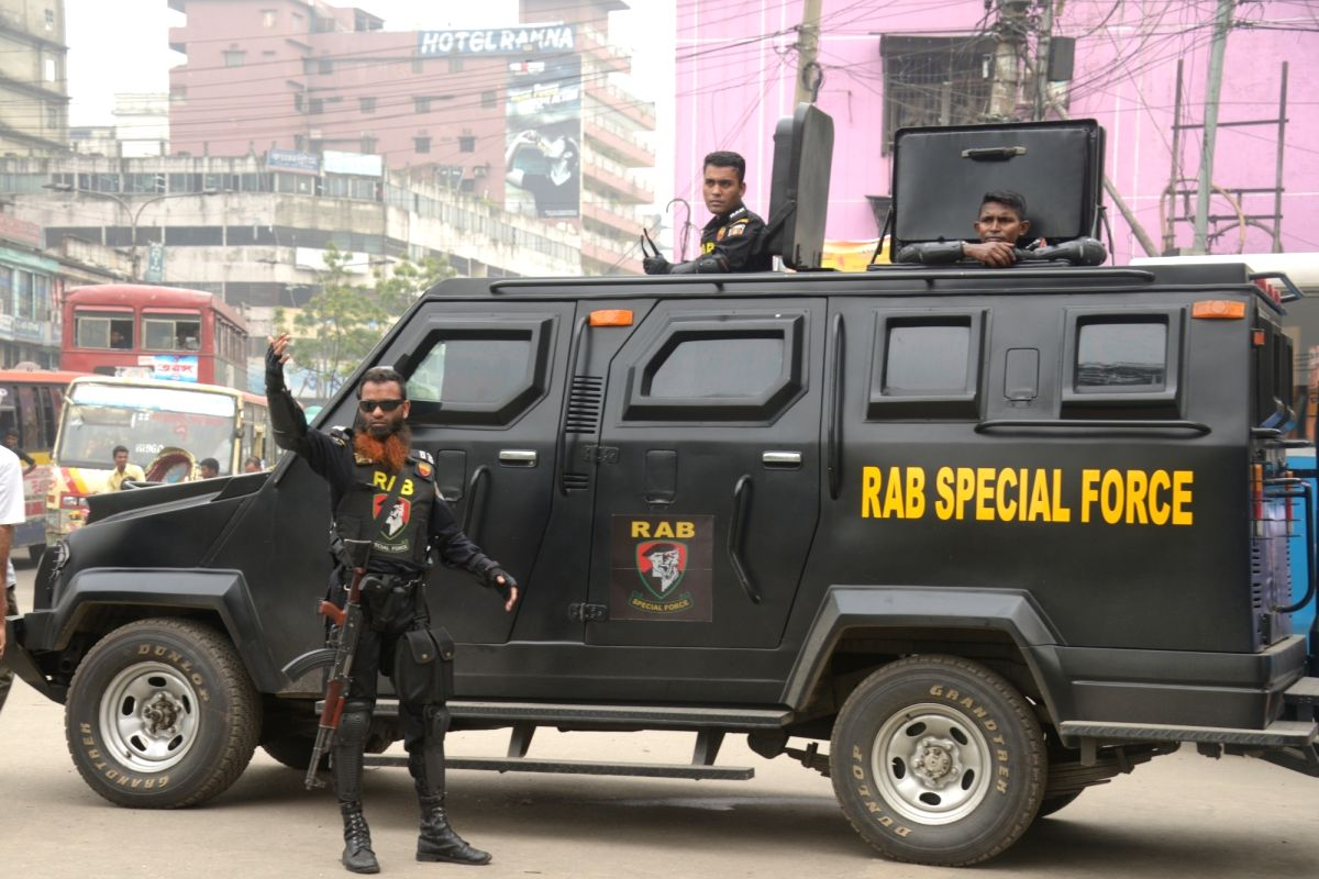 DHAKA, May 20, 2018 - Bangladesh's anti-crime elite force Rapid Action Battalion (RAB) conduct an anti-drug campaign in Dhaka, Bangladesh on May 20, 2018.
