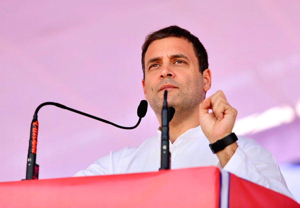 :Dhar: Congress President Rahul Gandhi addresses a gathering in Madhya Pradesh's Dhar on Oct 30, 2018. (Photo: IANS/Congress).