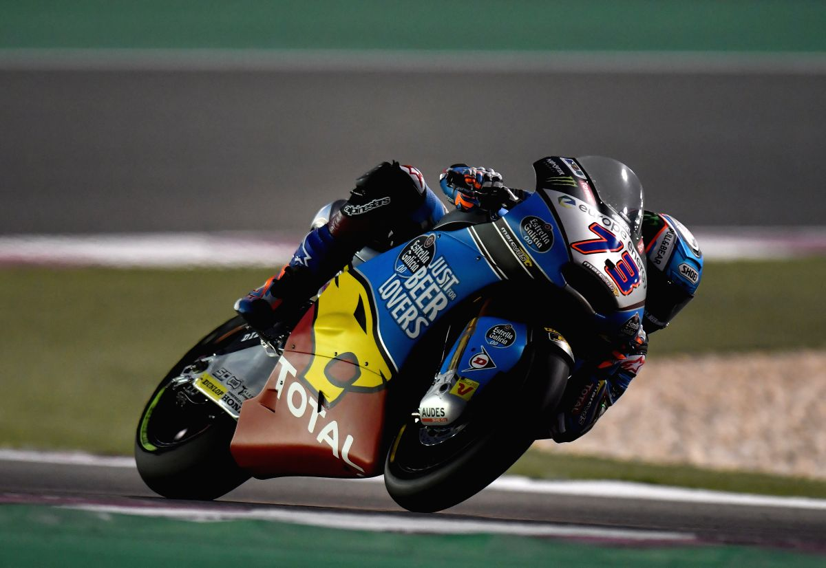 DOHA, March 18, 2018 (Xinhua) -- Spanish Moto2 rider Alex Marquez of EG 0,0 Marc VDS competes in the qualifying session during the 2018 MotoGP Grand Prix of Qatar in Losail Circuit of Doha, capital of Qatar, on March 17, 2018. (Xinhua/Nikku/IANS)