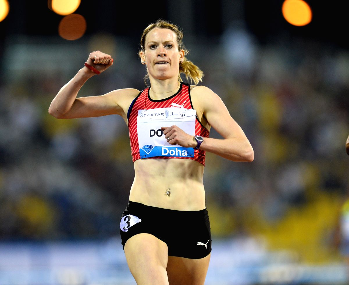 DOHA, May 7, 2016 (Xinhua) -- Eilidh Doyle of Britain celebrates after winning the women's 400m race at the IAAF Diamond League in Doha, capital of Qatar, May 6, 2016. Eilidh Doyle claimed the title of the event with 54.53 seconds. (Xinhua/Nikku/IANS